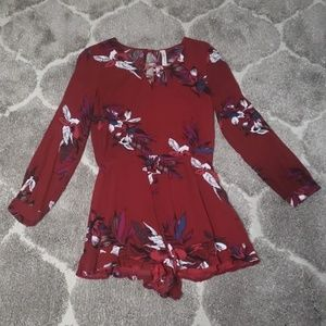 Peppermint Red Floral Print Long Sleeve Romper